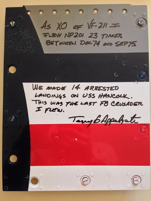 This panel has been signed by Terry and will be installed back on the cockpit.
